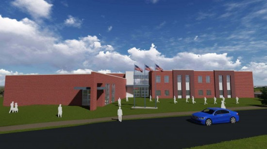 Artist rendering of the front entrance to the Military Science Building