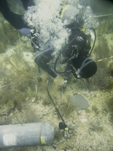 Danny Gleason, Director, ICPS, uses a pneumatic drill connected to a scuba tank to create a small hole in the reef. A dry wall anchor and stainless steel bolt will be installed in this hole.