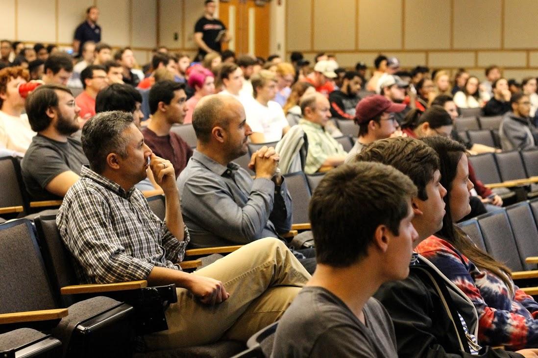 Students listening to professor